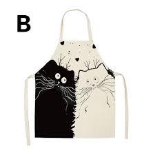 Kitchen Linen & Textiles <b>Cute Cartoon Cat</b> Printed Aprons Cotton ...