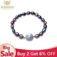 ASHIQI Black <b>Natural Freshwater Baroque</b> Pearl choker Necklace ...