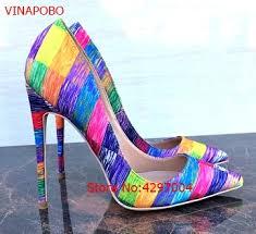 Vinapobo <b>Women</b> rainbow Party Wedding <b>Pumps Shoes Super</b> ...