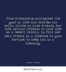 True friendship multiplies the good in life and divides its ...
