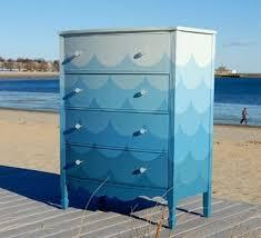 designer bedroom furniture chest of drawers waves sea blue furniture