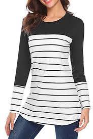 Womens Casual <b>Color Block Striped</b> Long <b>Sleeve</b> Tunic Tops Blouse