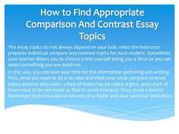 compare and contrast essay topics   the essay topics