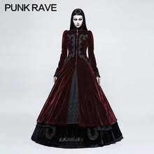 <b>PUNK RAVE Women Gothic</b> Palace Swallow Tail Long Dress ...