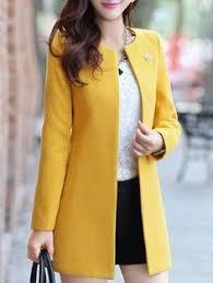 <b>YICIYA Autumn Winter jacket</b> women yellow overcoat wool coat suits ...