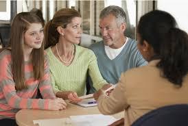 financial advisor job description parents and child talking to financial advisor