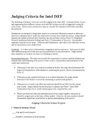 judging criteria for intel isef docx creativity