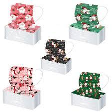 100Pcs Disposable Ordinary <b>Non</b>-<b>medical Masks Merry Christmas</b> ...