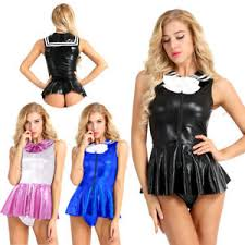 Women Adult Faux Leather <b>Sailor Suit School</b> Girl Cosplay Costume ...