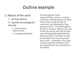 career research paper writing the body of your paper   ppt download outline example  nature of the work i job description ii specific knowledge