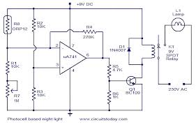 photocell based night light electronic circuits and diagram circuit diagram photocell based night light