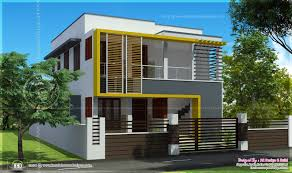 Duplex house elevation sq feet each   Kerala home design and    Duplex house in Kerala