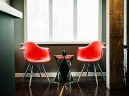 metal dining room chairs chrome: xhome red eames style armchair natural wood legs eiffel dining room chair lounge