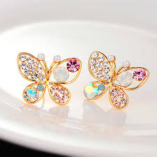 <b>Fashion</b> Exquisite Simlated Pearl Crystal <b>Stud</b> Earring Butterfly ...