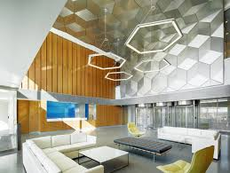 lighting ideas hexagon frame shade office pendant lighting over white leather sectional lounge sofa and best lighting for office