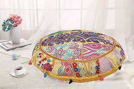 DK Homewares Round Ethnic Floor Pillow <b>Bohemian Mango</b> Yellow ...
