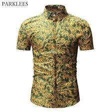 3D Leaf Print Shirt Men <b>2019</b> Summer <b>New Short Sleeve</b> Hawaiian ...