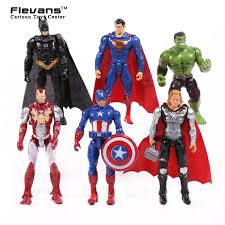 aliexpresscom buy superheroes 6pcsset iron man thor captain america batman superman hulk pvc action figures toys 4 10cm hrfg425 from reliable toy flags batman superman iron man