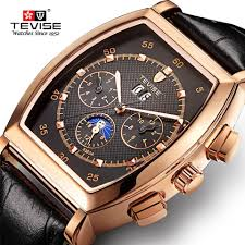 <b>Tevise Mens</b> Leather Automatic Business <b>Luxury</b> Rectangular Jam ...