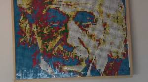 Picture of Albert Einstein made with 999 Rubik Cubes - YouTube