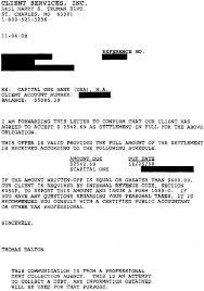 capital one debt settlement sample letter sample settlement letter