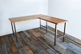 sustainable steel l shape reclaimed wood desk shaped wood desks home