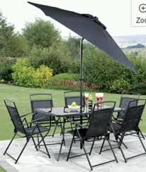 patio table and 6 chairs: new  piece black garden patio set  chairs table umbrella black