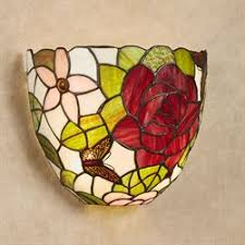 <b>Elegant</b> Roses Stained Glass Wireless <b>LED Wall Sconce</b> with Remote