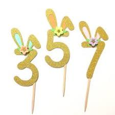 1 pc Flowers <b>Bunny</b> Ear ONE Gold Glitter Cake Topper for <b>Birthday</b> ...
