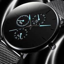 Fashion Mens Business Black Watches Luxury Stainless ... - Vova
