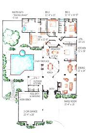 U Shaped House Plans With Pool In The Middle Home Design    Comely Mansion House Plans Indoor Pool Pool House Plans