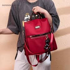 ₱Sd-<b>bag</b>   Women Solid Color <b>Waterproof</b> Travel Backpacks Anti ...