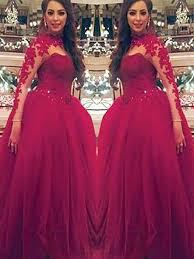Ball Gown <b>Long</b> Sleeves <b>High Neck</b> Applique Floor-Length <b>Tulle</b> ...