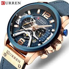 <b>CURREN Men's</b> Leather Chronograph Waterproof Watch <b>Fashion</b> ...