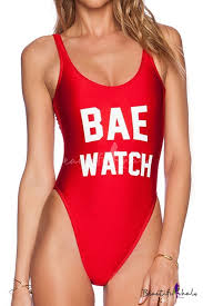 <b>BAE WATCH Letter</b> Printed Round Neck Sleeveless One Piece ...
