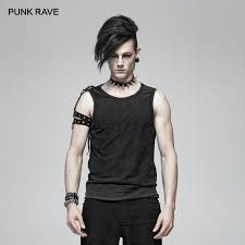 PUNK RAVE Punk Rock <b>Men's Simple</b> Black Vest Casual <b>Summer</b> ...