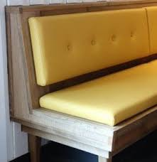 tufted dining bench with back solid wood dining bench with upholstered seat and tufted back in yellow color