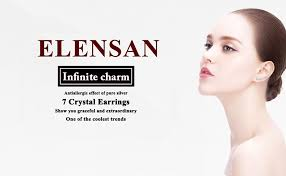 Elensan 7 Crystals Ear Cuffs Hoop Climber <b>S925 Sterling Silver</b> ...