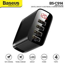 <b>Baseus Mirror Lake</b> Digital Display 4USB Travel Charger 30W ...