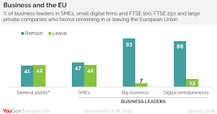 yougov small business owners more eurosceptic than big business and the smaller the company the less likely they are to support continued membership although companies of all sizes arre more in favour of remaining