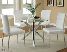 metal dining room chairs chrome: new pc vince round glass chrome metal dining table set w white chairs