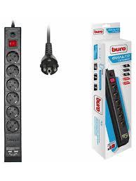 <b>Сетевой фильтр Buro BU-SP3 USB 2A-W</b> 3м (6 розеток) белый ...