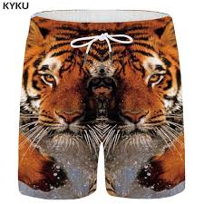 2019 <b>KYKU Brand Tiger</b> Shorts Men Water Beach Animal Short ...