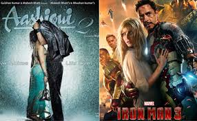 collage of posters of aashiqui 2 and iron man 3 aashiqui 2 beats iron man