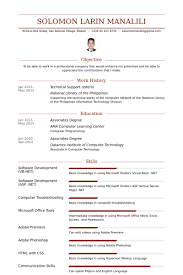 technical support resume samples   visualcv resume samples databasetechnical support  intern  resume samples