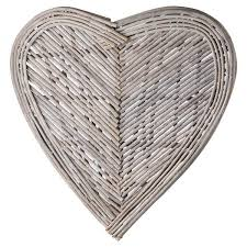<b>Wicker</b> Heart - Wall Art <b>70cm</b> - £29.99 - Inspirations Wholesale