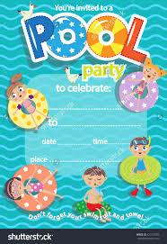 swimming party invitation templates com pool party invitation template card kids fun in pool stock