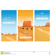 mountains desert landscape flyers set stock vector image  mountains desert landscape flyers set
