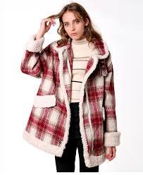 CMAZ 2019 autumn <b>winter</b> red plaid <b>woolen coat</b> new fashion ...