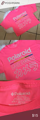 Polaroid <b>pink</b> crop top new 50%cotton 50%<b>Polyester</b> Super kool ...